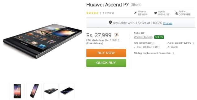 huawei ascend p7 flipkart - Huawei Ascend P7 Now Available In India Exclusive On Flipkart