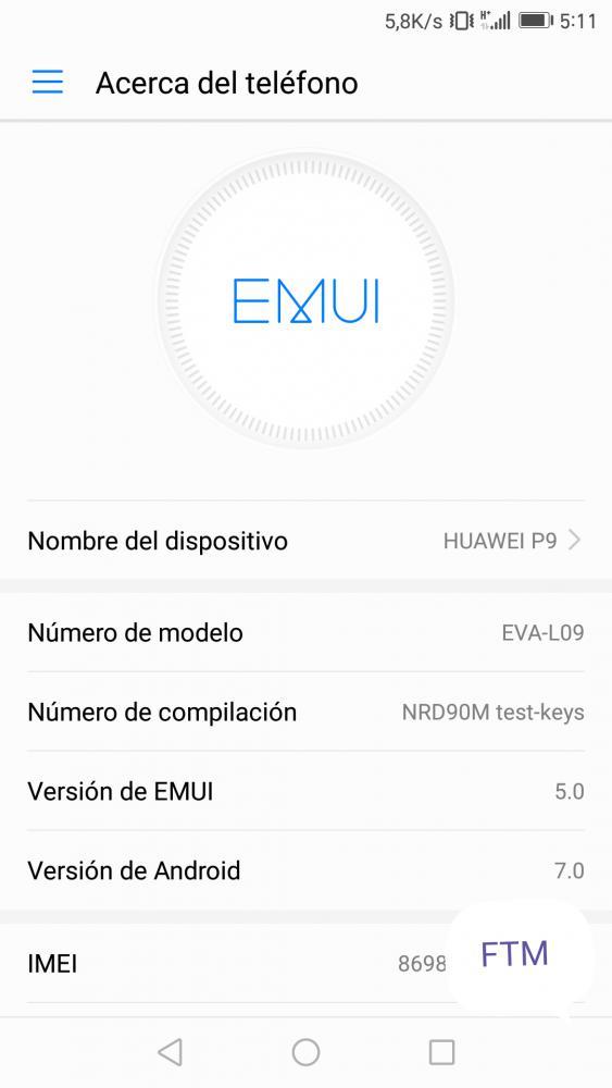 B322 Emui 5.0 Huawei P9 Android 7.0 Nougat OTA 1