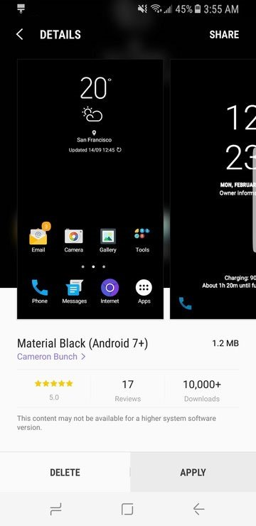 Galaxy S8 Dark Theme