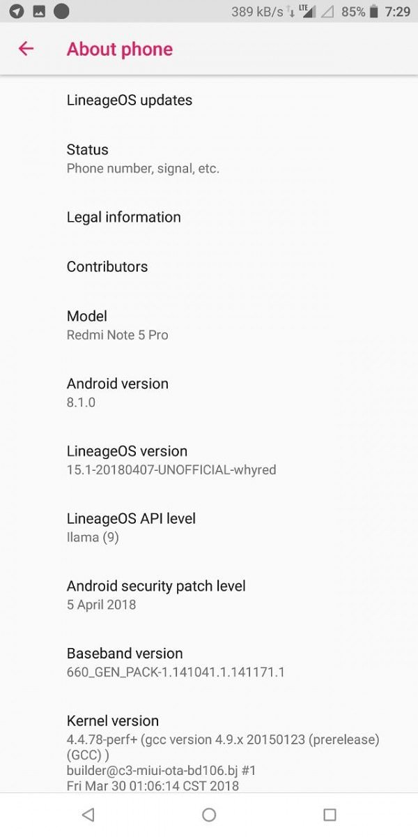 LineageOS 15.1 For Redmi Note 5 Pro Custom ROM 3