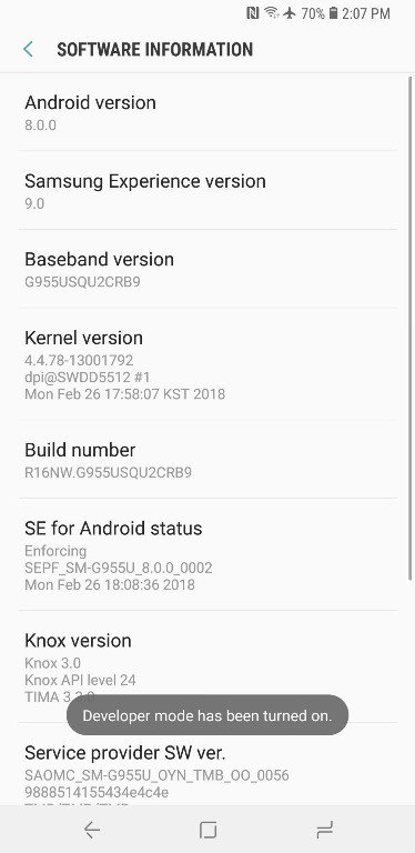 Developer Options On Samsung Android 1