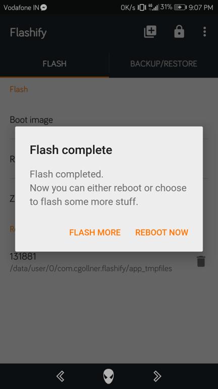 Flashify recovery flashing done