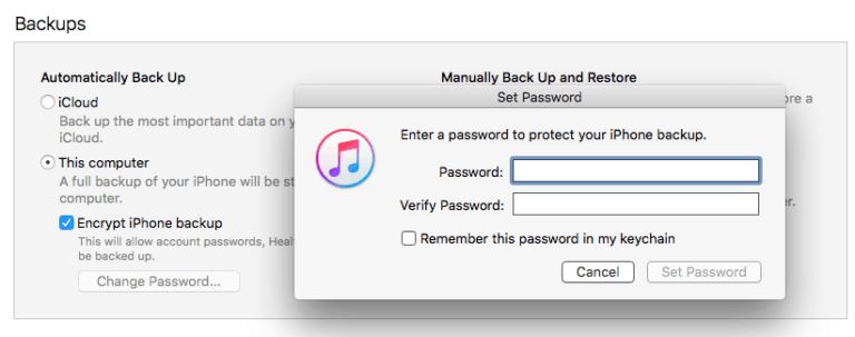 How To Forget iTunes Backup Password