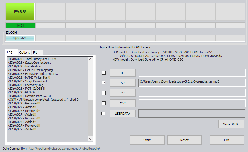 twrp install pass