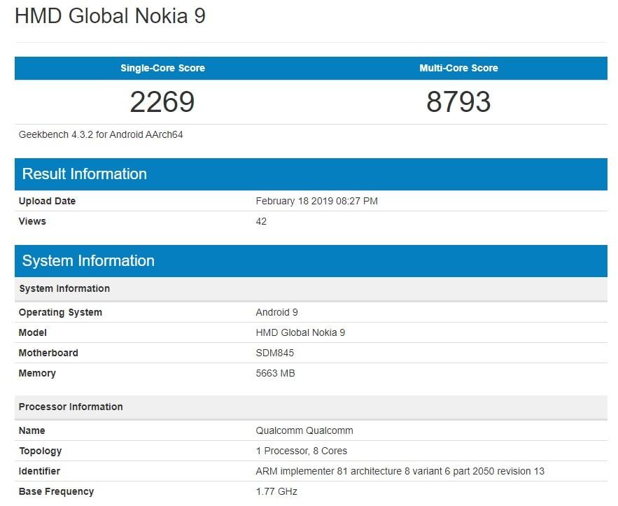 Nokia 9 Pureview Geekbench