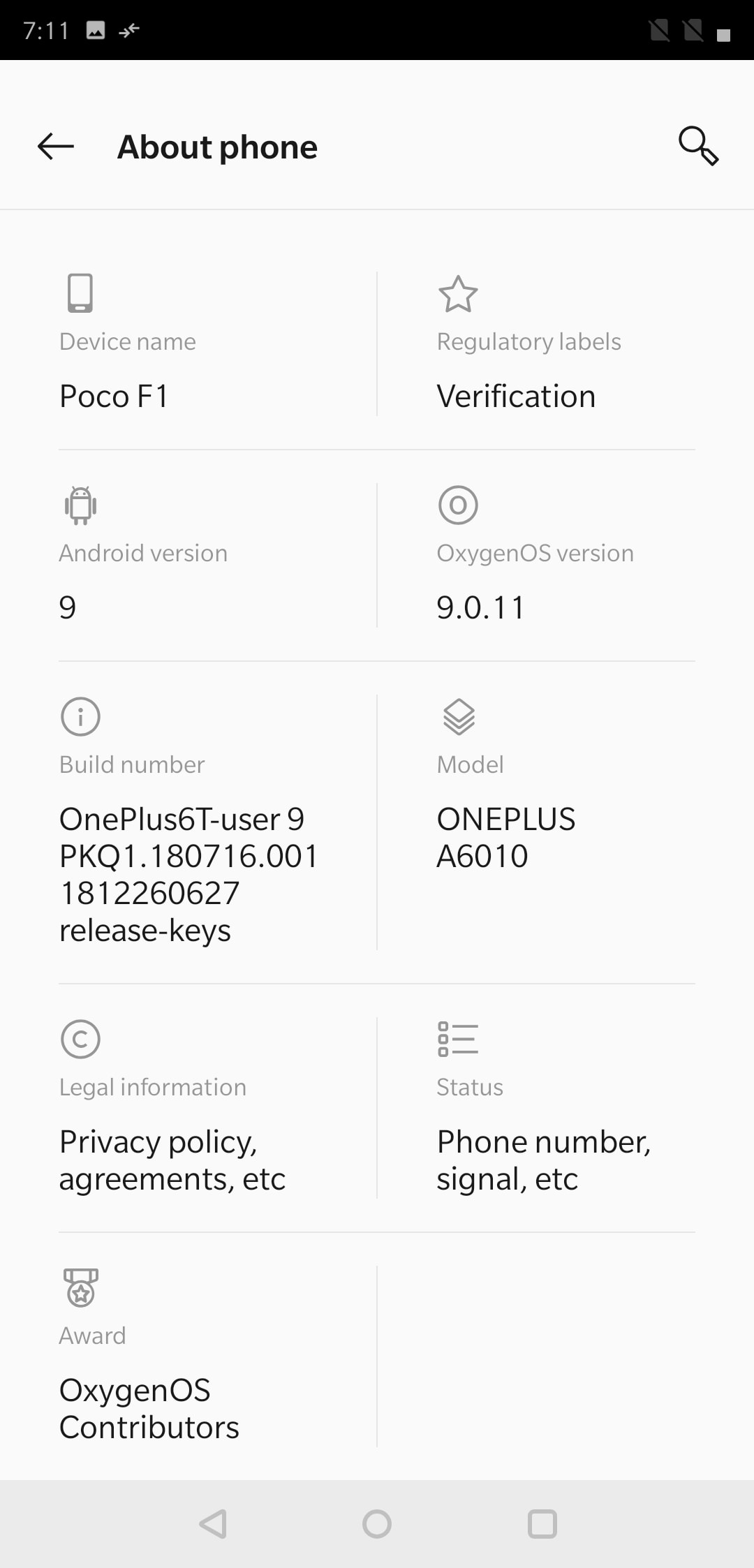 Poco F1 OxygenOS About Screen