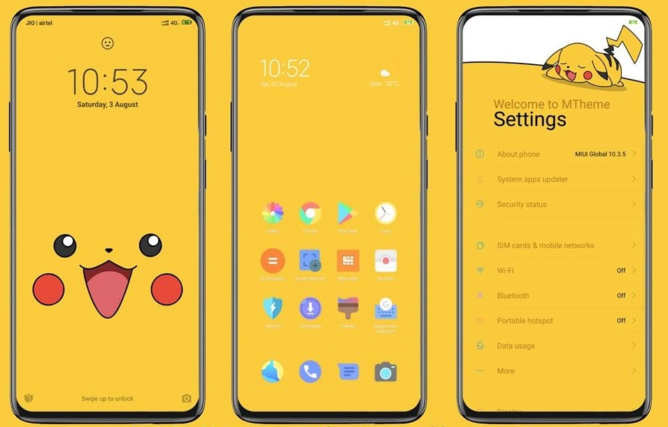 Pikachu MIUI Theme Screens