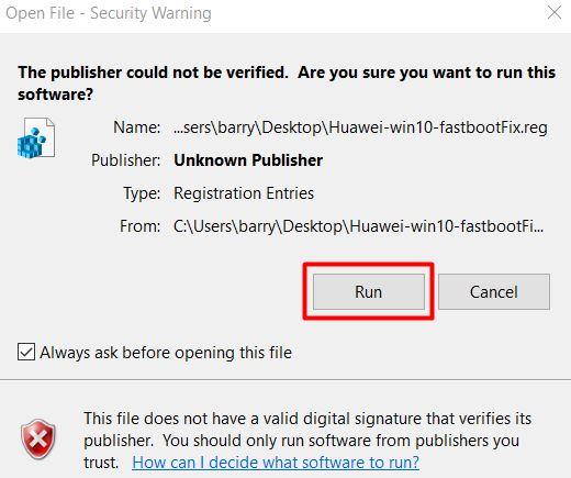 HUAWEI Windows 10 Fastboot Fix 1
