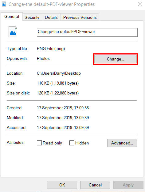 change default app windows10