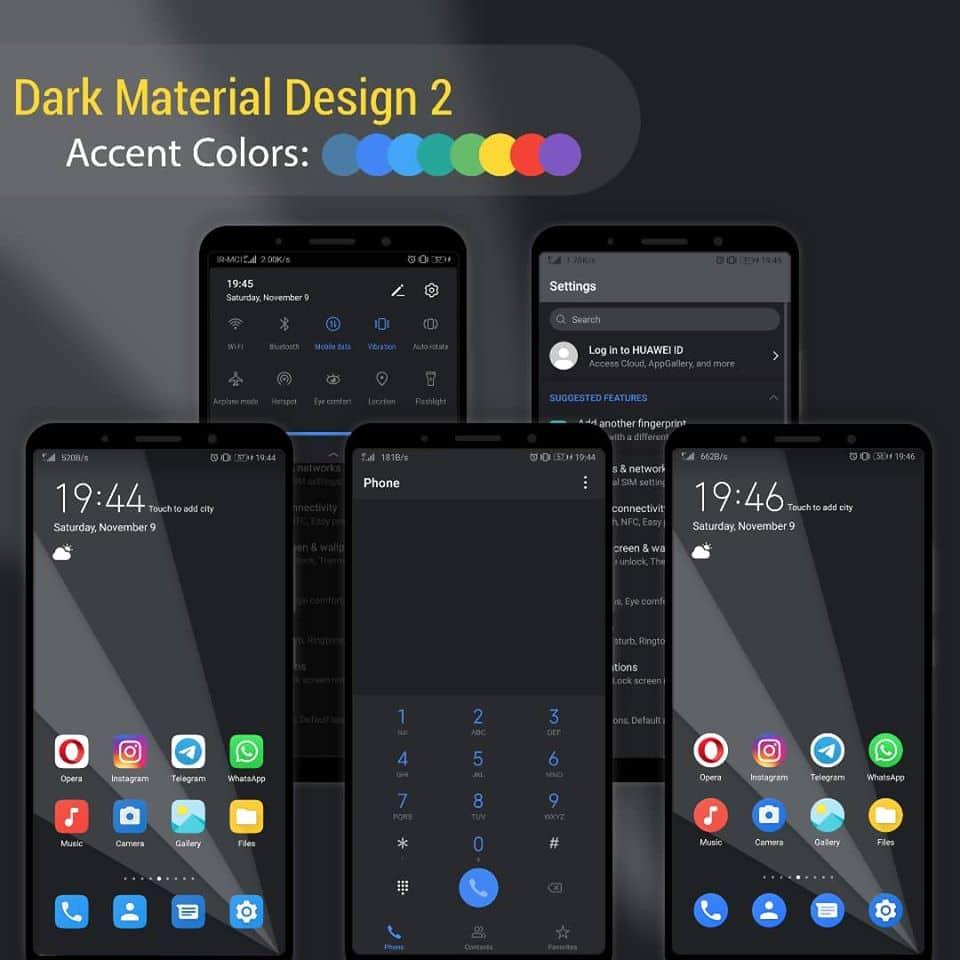 Material Design EMUI Screens