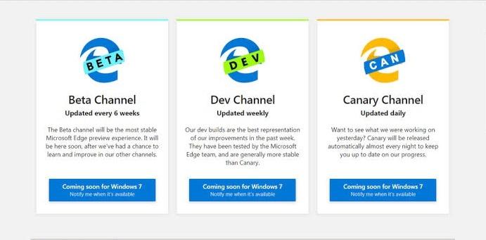 Microsoft Edge Insider Versions