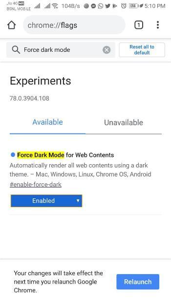 Force Dark Mode Chrome 2
