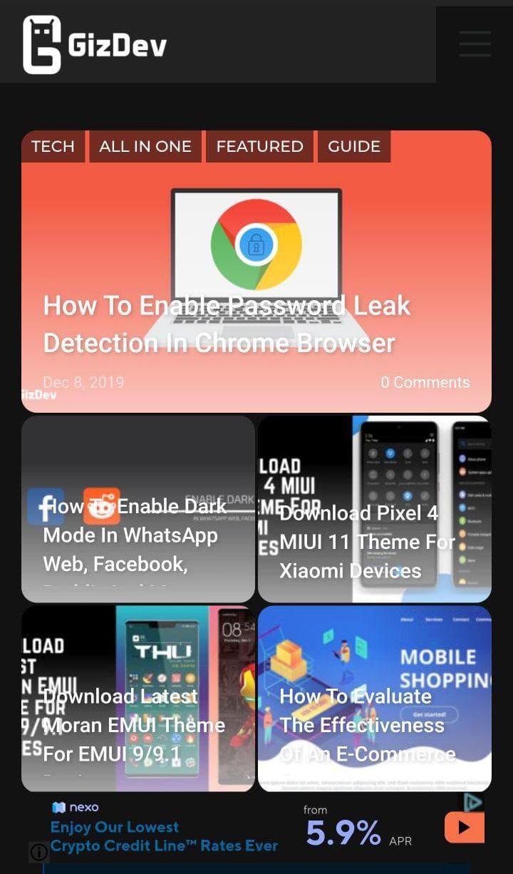 chrome dark mode mobile
