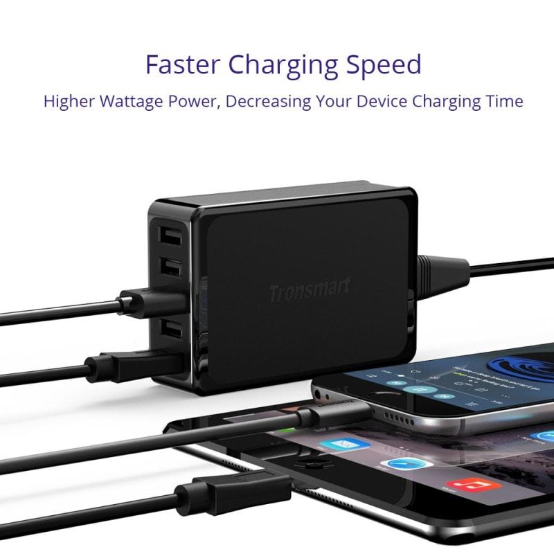 tronsmart u5p 60w usb pd desktop charger with voltiq 1