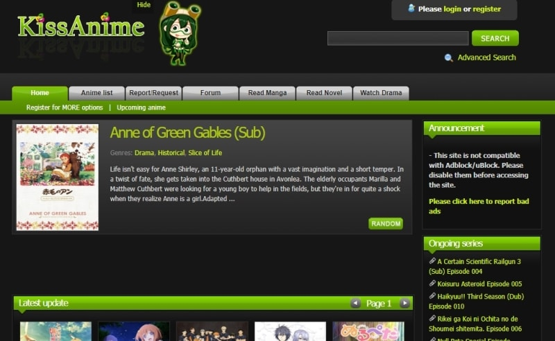 Free Anime Websites-KissAnime